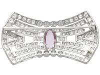 3.08ct Pink Topaz & 7.02ct Diamond and Platinum Brooch - French c.1925 (5 of 9)