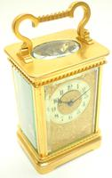 Good Antique French 8-day Carriage Clock Bevelled Case with Embossed Decorated Masked Dial (12 of 12)
