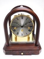 Wow! Franz Hermle & Sohne Musical Bell Chiming Mahogany & Glass Mantel Clock (4 of 13)