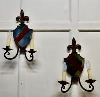 Pair of Wrought Iron Heraldic Shield Shaped Girandole Wall Mirrors (5 of 7)