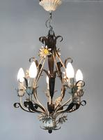 Vintage Rustic Original French Toleware Daisies Ceiling Light Chandelier (3 of 9)