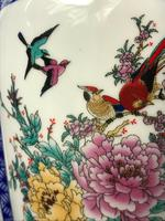 Pair Chinese Conjoined Porcelain Floral Birds Qianlong Vases (5 of 12)