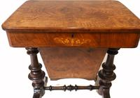 Victorian Sewing Table Antique Burr Walnut 1860 Side Tables (6 of 11)