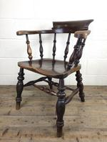 19th Century Ash and Elm Smoker's Bow Chair (M-1704) (10 of 15)