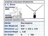0.74ct Sapphire & 0.28ct Diamond, 18ct White Gold Pendant - Vintage c.1950 (7 of 9)