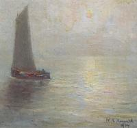 W. H. Renwick Small Edwardian Moonlit Sailing Seascape Oil Painting (5 of 11)