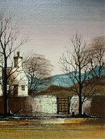 Ronald Folland (1932-1999) Original Signed Winter Village Landscape Oil Painting (5 of 12)