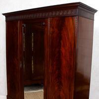 Triple Compactum Wardrobe Flame Mahogany 19th Century (6 of 12)