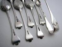 Antique Edwardian 1910 Solid Sterling Silver Tea Spoons & Sugar Tongs Set, English Trefid Rattail William III Style (4 of 8)