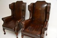 Pair of  Antique  Leather Wing Back Armchairs (9 of 11)
