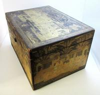 Rare Antique Chinese Lacquered Giltwood Large Tea Caddy Chest / Box / Casket with Pewter Liner c.1800 (7 of 16)