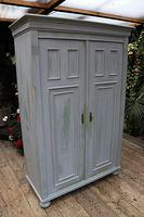 Fabulous Old Pine & Grey Painted Wardrobe / Hall / Kitchen Cupboard - We Deliver! (3 of 12)