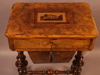 Good Victorian Ladies Sewing Table inlaid with castle ruins (8 of 10)