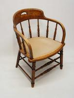 Edwardian Oak Upholstered Tub Chair (6 of 18)