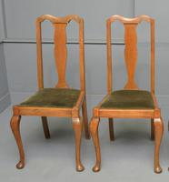 Set of Four 1920s Queen Anne Style Walnut Dining Chairs (3 of 16)