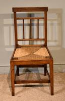 George III Elm Dining Chairs with Rush Seats (2 of 7)