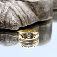 The Antique Edwardian Chased Gallery Diamond Ring