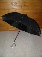 "Antique Solid Silver Intricate Detailed Handled Umbrella W/Black Canopy ""A.J.H"" (2 of 18)"