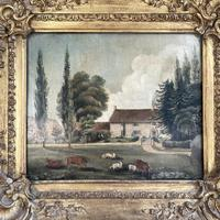 Antique Landscape Oil Painting of Farmhouse with Cows & Sheep (4 of 10)