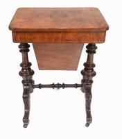 Victorian Sewing Table Antique Burr Walnut 1860 Side Tables (10 of 11)