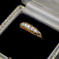 Antique Edwardian Old Cut Diamond Five Stone 18K Gold Ring (9 of 10)