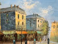 Fine Large Original Vintage Parisian Street Cityscape Impressionist Oil Painting (6 of 11)
