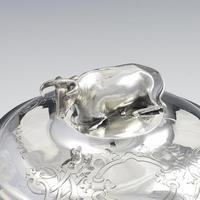 Early Victorian Blue & White Overlay Glass Butter Dish Silver Cow Cover (14 of 15)
