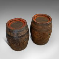 Pair Of, Antique Whiskey Pins, Oak, Barrel, Side Table, Taunton, Victorian, 1900 (5 of 11)