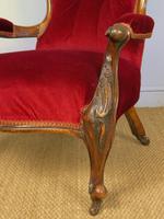 Victorian Red Velvet Armchair (7 of 9)