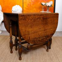 Oak Gateleg Dining Table & 4 Chairs Arts Crafts (16 of 17)