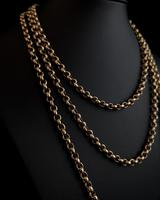 Antique gold longuard chain, necklace (4 of 14)