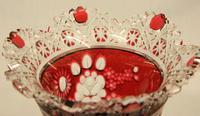 Lovely Heavy Ruby Cut Glass Vase (2 of 4)