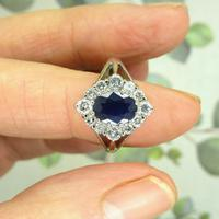 Vintage 18ct white gold sapphire diamond cluster ring ~ 1.55ct sapphire (5 of 10)