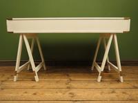 Vintage Scandi Boho White Campaign Style Desk with Trestle Legs (15 of 17)