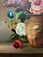 Striking Early 1900s Antique Large Floral Display Oil on Canvas Painting (9 of 12)