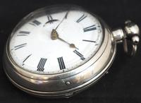 Antique Silver Pair Case Pocket Watch Fusee Verge Escapement Key Wind Enamel Dial Richardson London (11 of 13)