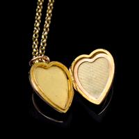 Antique Turquoise Heart 9ct 9K Gold Locket and Chain Necklace (6 of 10)