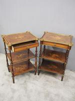 Pair of Victorian Marquetry Burr Walnut Etageres (9 of 12)
