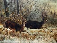 'Chasing The Deer' Beautiful 19th Century Game Hunting Moonlit Landscape Oil Painting (10 of 14)