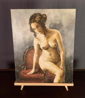 Mid Century Signed Oil on Canvas Female Nude (2 of 6)