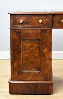 19th Century Victorian Burr Walnut Pedestal Desk (10 of 18)