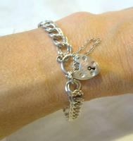 """Vintage Sterling Silver Bracelet 1976 Double Curb With Heart Padlock 7 1/2"""" Length (10 of 11)"""