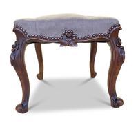 Walnut Upholstered Footstool (5 of 7)