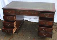 1960's Large Mahogany Pedestal Desk with Green Leather Inset + Key (2 of 4)
