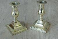 Pair of 17th Century Style Brass Candlesticks Dated 1656 W Soutter c.1910 (7 of 8)
