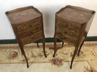 French Marquetry Kingwood Bedside Tables Rustic Distressed (13 of 13)