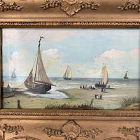 Antique coastal seascape oil painting of fishing boats signed YT (8 of 9)