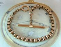 Antique Pocket Watch Chain 1890s Victorian 10ct Rose Gold Filled Albert With Key T Bar (4 of 12)