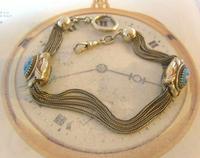 Antique Pocket Watch Chain 1880s Victorian Silver Nickel & Enamel Fancy Albert (4 of 11)