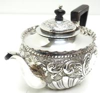 English Victorian Antique Solid Silver Tea Set, Embossed Decoration c.1890 (4 of 11)